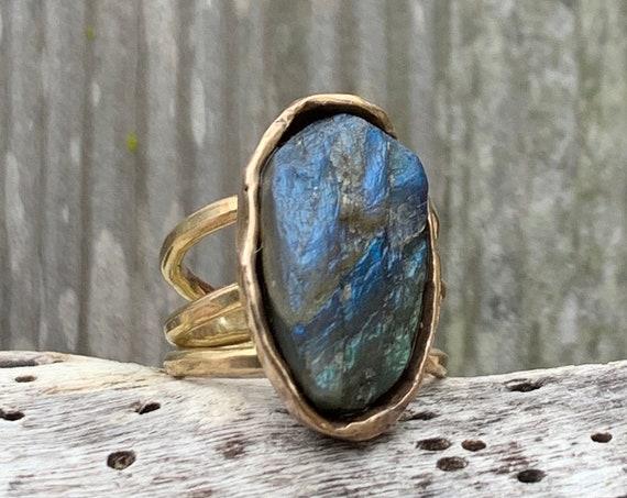 Handmade Gold Fill Oval Raw Labradorite Wrap Style Ring