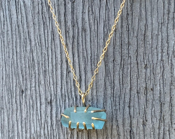 Handmade 14K Gold Fill Prong Set Faceted Aquamarine Necklace