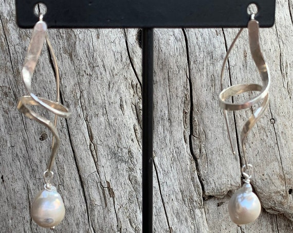 Handmade Sterling Silver Twirl Earrings with Flame Ball Pearl Drop