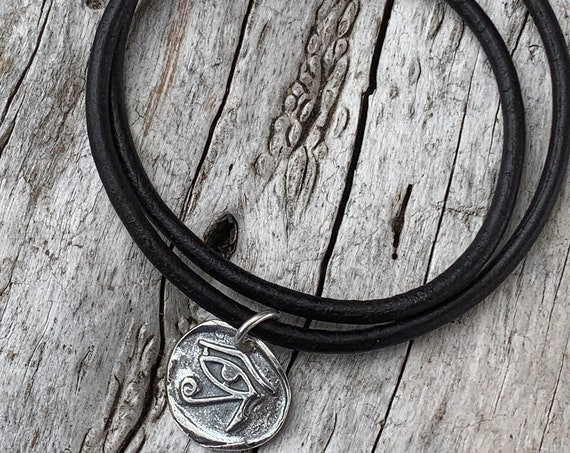 Handmade Sterling Silver Eye of Ra Charm Double Wrap 3MM Leather Bracelet with Magnetic Closure