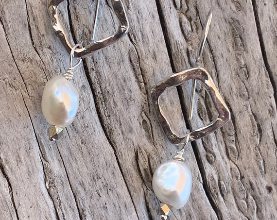 Handmade Sterling Silver Organic Square Earrings with Baroque Pearls Drop