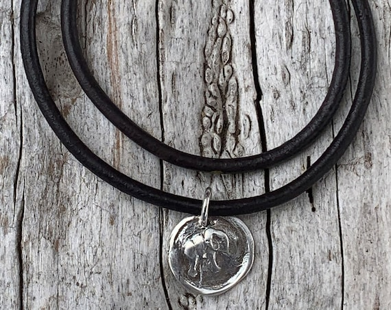 Handmade Sterling Silver Elephant Charm Double Wrap 3MM Leather Bracelet with Magnetic Closure