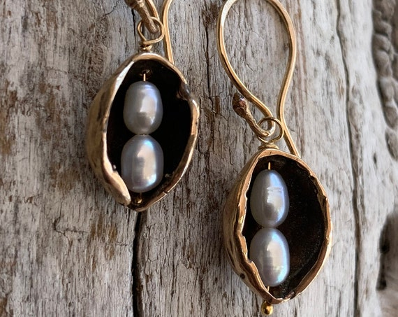 Bronze Pod Earrings with Two Seed Pearls and 14K Gold Fill Ear Wire