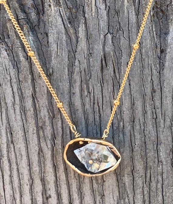 14K Gold Fill Herkimer Diamond Pod Necklace Small
