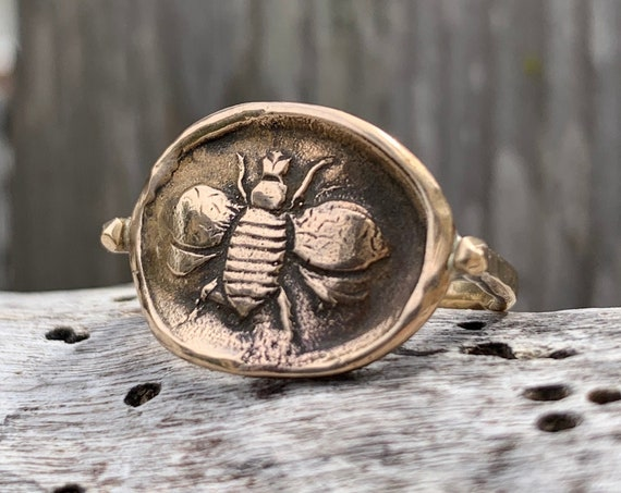 Bronze Bee Ring with 14K Gold Fill Band