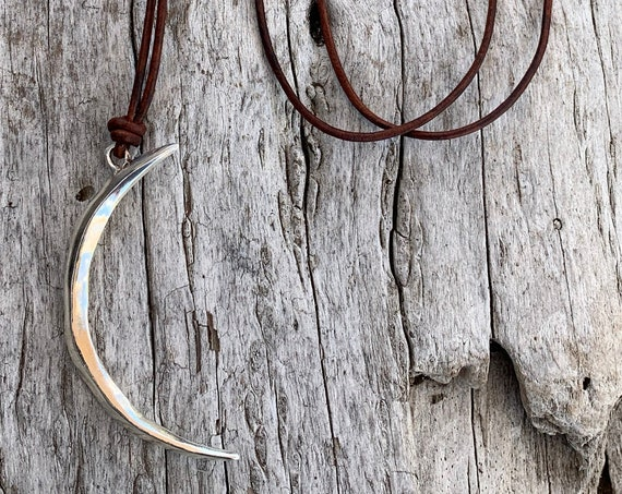 Handmade Sterling Silver Long Crescent Moon Leather Necklace