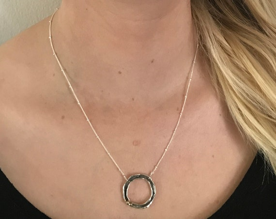 Silver Organic Circle Necklace with Bronze Beads