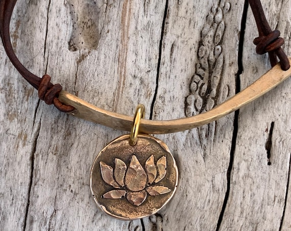 Hand Made Cast and Hammered Bronze Organic Bar and Lotus Charm Leather Bracelet with Adjustable Silver Pearl Closure