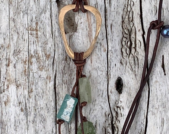 Handmade Bronze Organic Triangle Leather Adjustable Long Lariat Necklace with Roman Glass