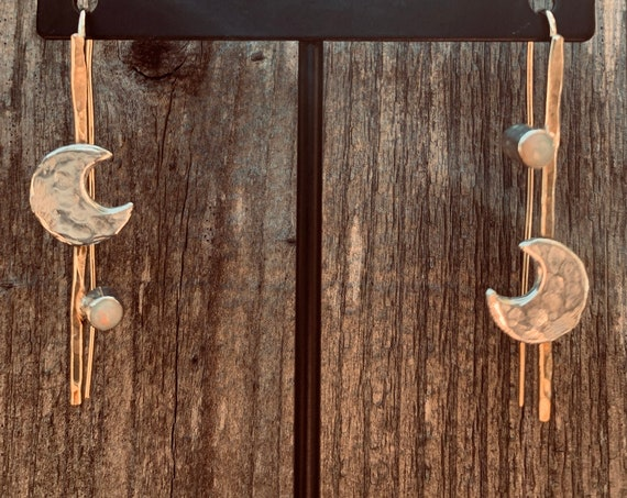 Handmade 14K Gold Fill Earrings with Sterling Silver Hammered Crescent Moon and Tube Set Opal