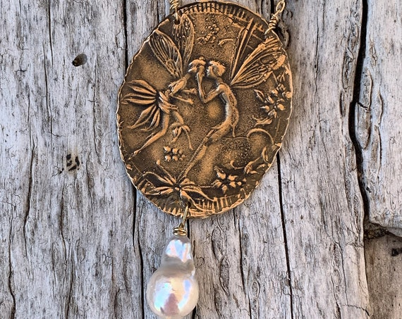 Bronze Kissing Faerie Necklace on 14K Gold Fill with Flame Ball Pearl Drop