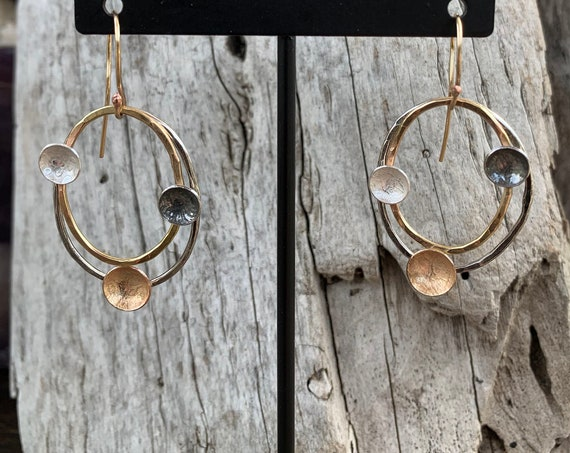 Handmade Mixed Metal Three Planets Earrings