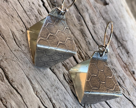 Roller Print Honey Comb Box Style Lantern Earrings
