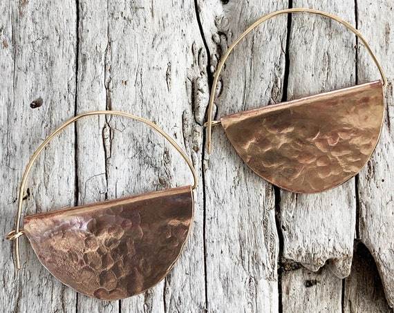 Hammered Bronze and Gold Fill Hoop Earrings