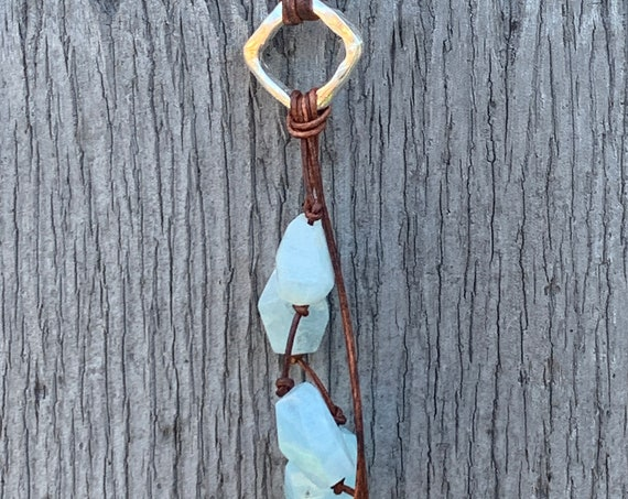 Handmade Organic Silver Diamond Leather Adjustable Lariat Necklace with Variegated Aquamarine Cluster