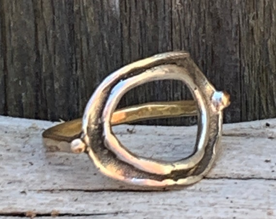 Organic Silver Circle ring with 14K Gold Fill Band