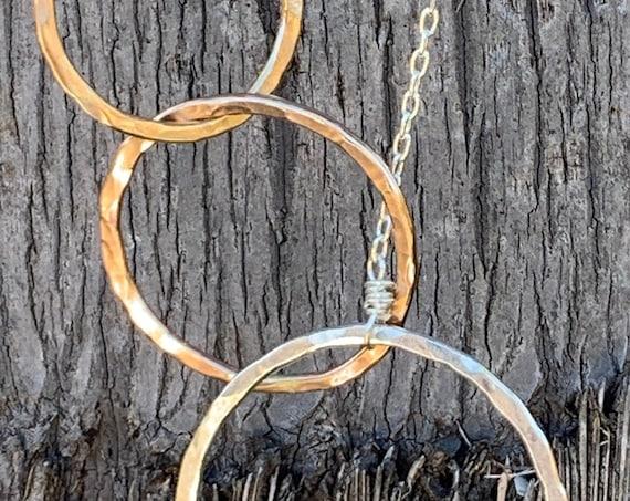 Mixed Metal Three Circles Long Lariat Necklace