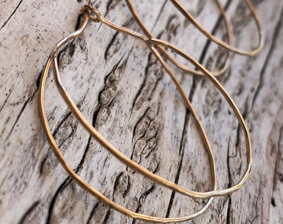 Hammered Double Hoop Gold Fill Earrings