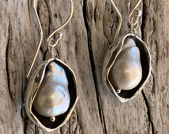 Sterling Silver Pod Earrings with Flame Ball Pearls