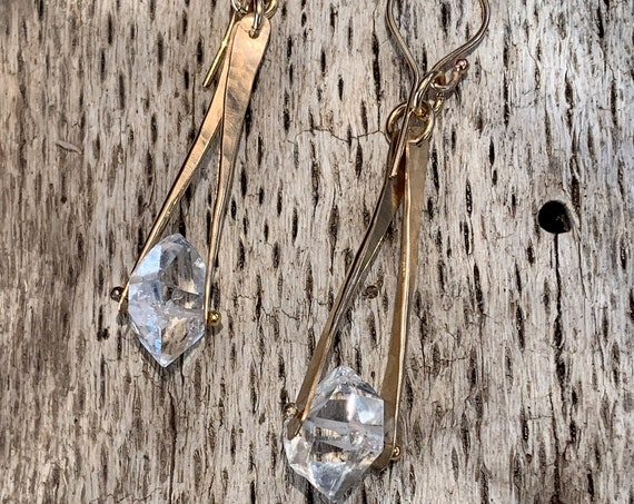 14K Gold Fill Herkimer Diamond Drop Earrings