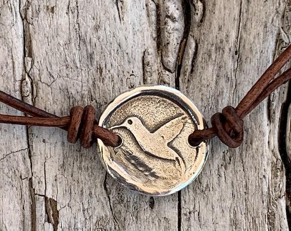 Handmade Organic Sterling Silver Hummingbird Leather Choker Necklace