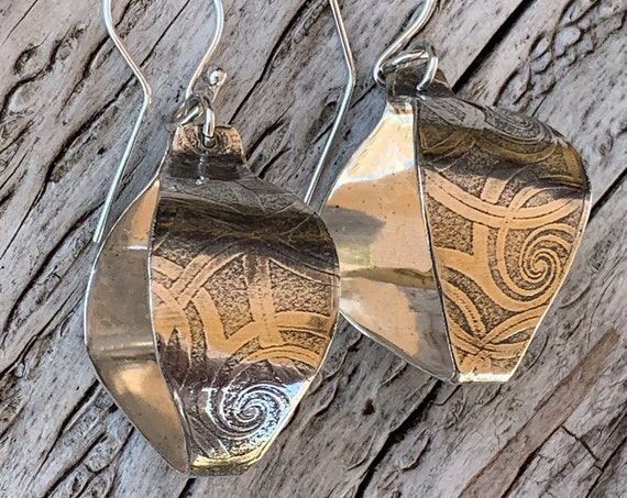 Sterling Silver Roller Print Swirl Lantern Earrings