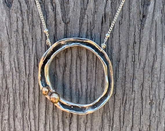 Sterling Silver Organic Two Peas in a Pod Circle Necklace with Bronze Beads