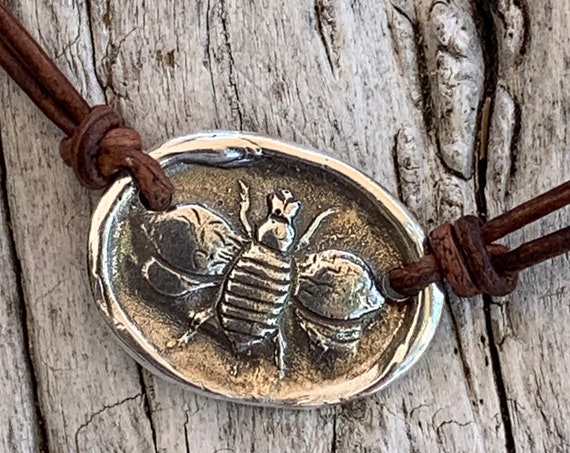 Handmade Organic Sterling Silver Bee Leather Choker Necklace