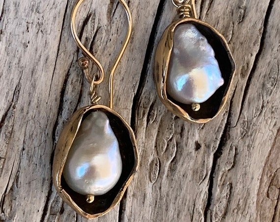 Bronze Pod Earrings with Flame Ball Pearls and 14K Gold Fill Ear Wire