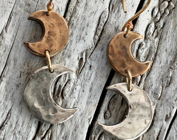Handmade Sterling Silver and Bronze Hammered Crescent Moon Earrings