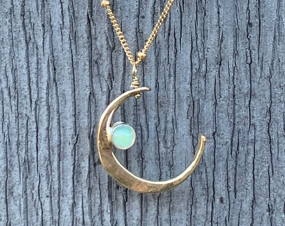 Handmade 14K Gold Fill Crescent Moon Necklace with Tube Set Opal