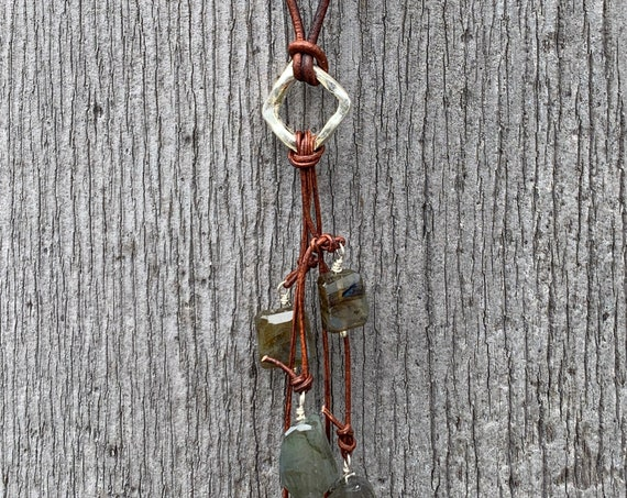 Handmade Organic Silver Diamond Leather Adjustable Lariat Necklace with Variegated Labradorite Cluster