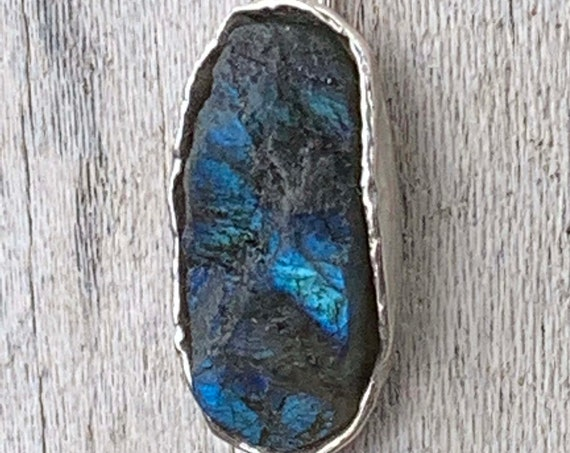 Sterling Silver Organic Raw Labradorite Long Oval Necklace with Four Herkimer Diamonds