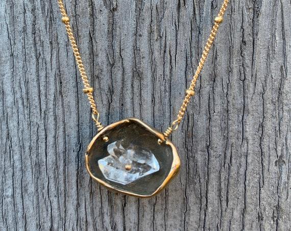 14K Gold Fill Herkimer Diamond Pod Necklace