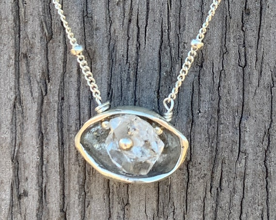 Sterling Silver Herkimer Diamond Pod Necklace Small