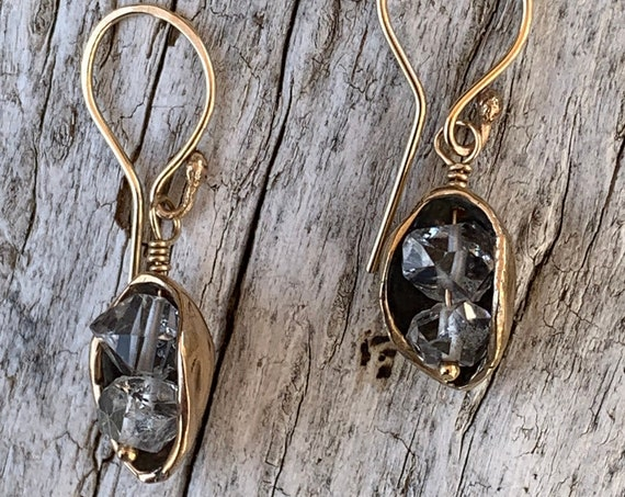 Bronze Pod Earrings with Herkimer Diamonds and 14K Gold Fill Ear Wire
