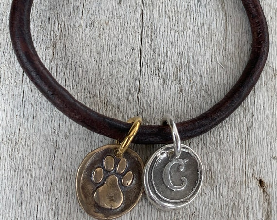 Four Legged Friends Past and Present Leather Bracelet with Sterling Silver Letter and Bronze Paw Charm