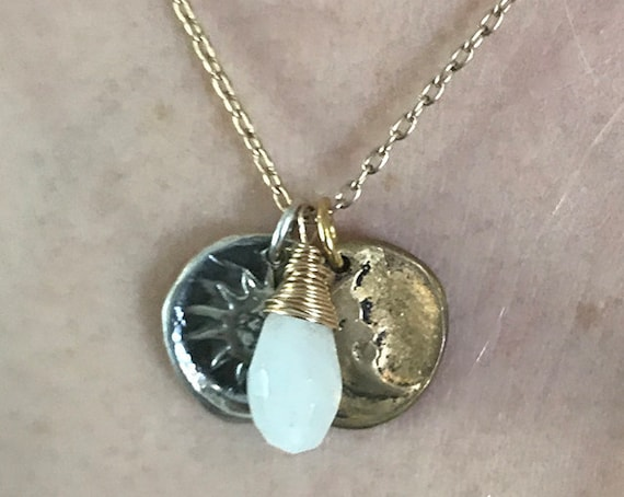 Handmade 14K Gold Fill Necklace with Sterling Silver Sun & Bronze Moon Charms with Moon Stone Drop