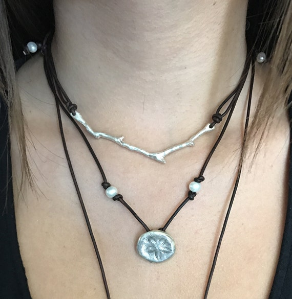 Handmade Leather Silver Branch Necklace with Adjustable Pearl Closure