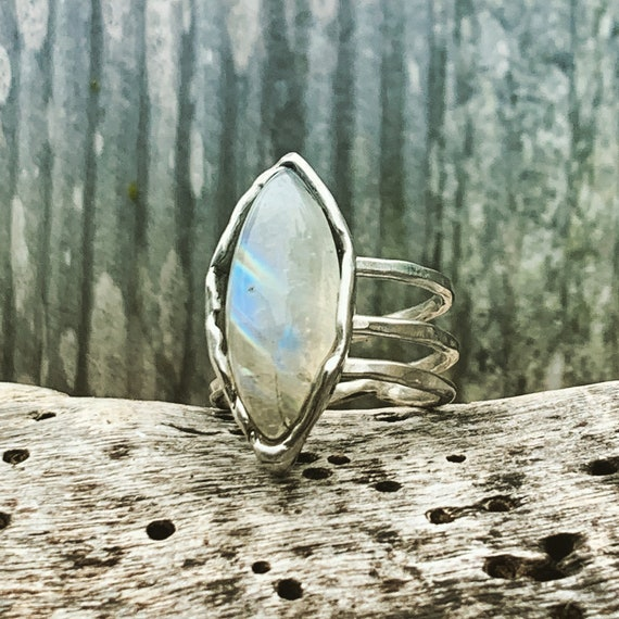 Handmade Sterling Silver Wrap Style ring with Moonstone Set Stone