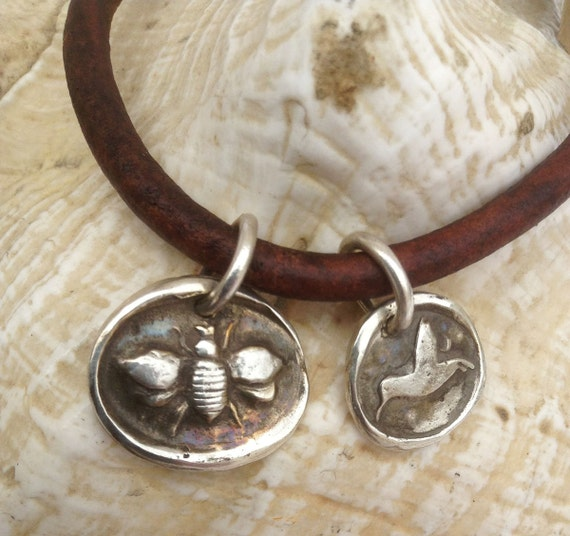 Handmade Sterling Silver Bee & Hummingbird Charms 4MM Leather Bracelet with Magnetic Closure