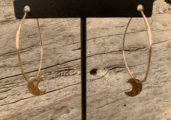 Handmade 14K GF Hoop Earrings with Bronze Crescent Moons