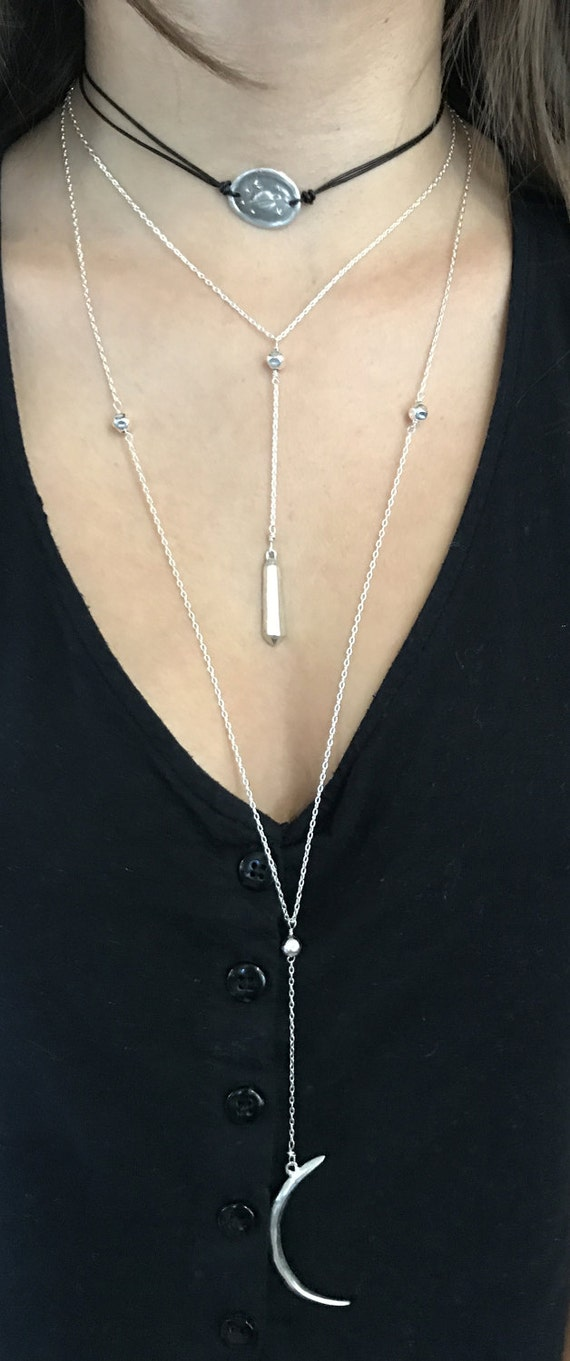 Handmade Sterling Silver Silver Crystal Lariat Delicate Necklace
