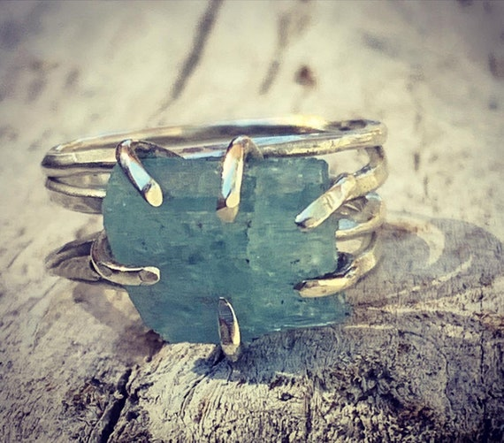Handmade Sterling Silver Raw Aquamarine Wrap Style Ring