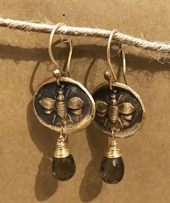 Handmade Bronze and Gold Fill Earrings with Smokey Quartz Drop