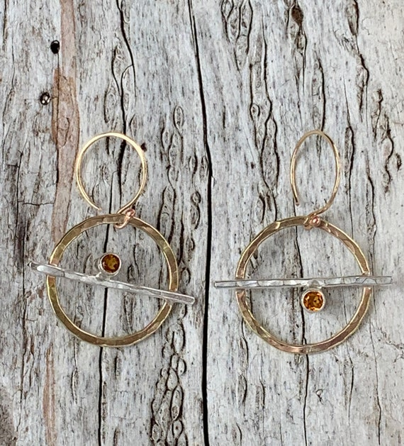 Mixed Metal Circle Earrings with Tube Set Citrine