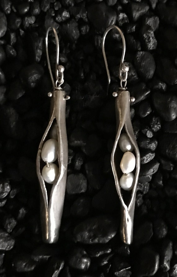 Handmade Sterling Silver Organic Pea Pod Earrings with Fresh Water Pearls