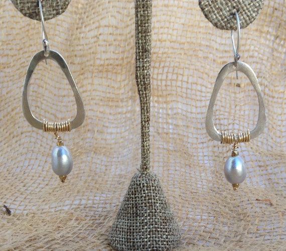 Handmade Sterling Silver Triangle Earrings with Gold Wrap and Fresh Water Pearls