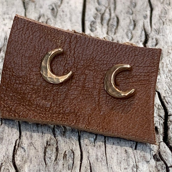 Handmade Bronze Crescent Moon Stud Earrings with 14K GF Posts