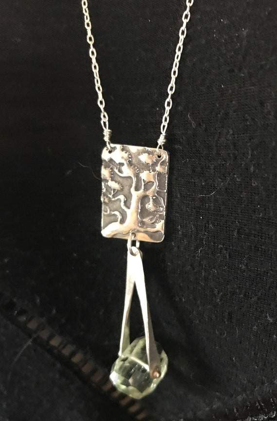 Sterling Silver Long Tree Necklace with Green Amethyst Drop